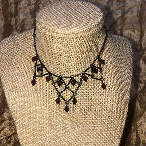Jewelry - Goth / Halloween Chocker Black w/ Dark Red Beads!